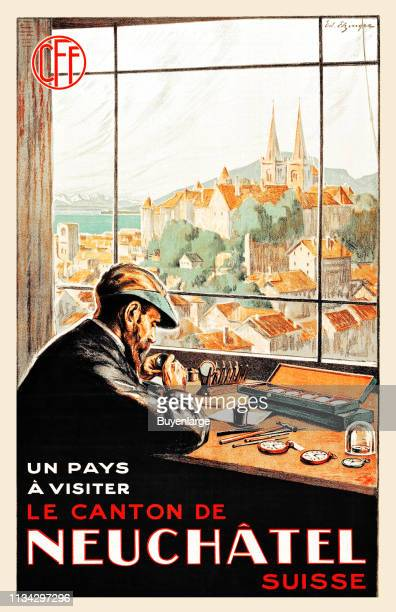 Travel poster to promote Swiss city of Neuchatel with an illustration of a watchmaker as he works a bench with a view of the Collegiale Church, 1921.