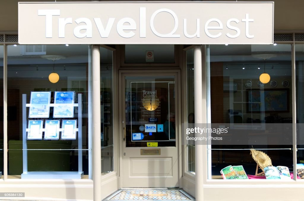 Travel Quest travel agent shop window in Woodbridge, Suffolk