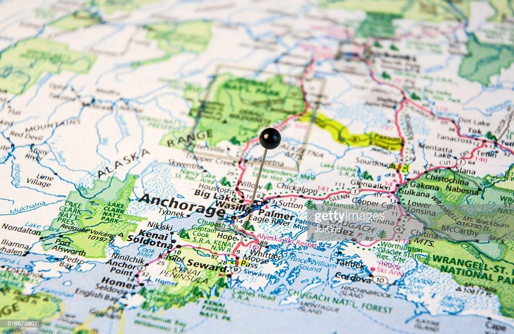 Travel Roadmap Of Anchorage Alaska Valdez And Seward Stock Photo ...