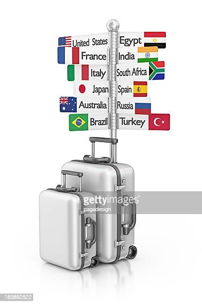 travel signpost and suitcases