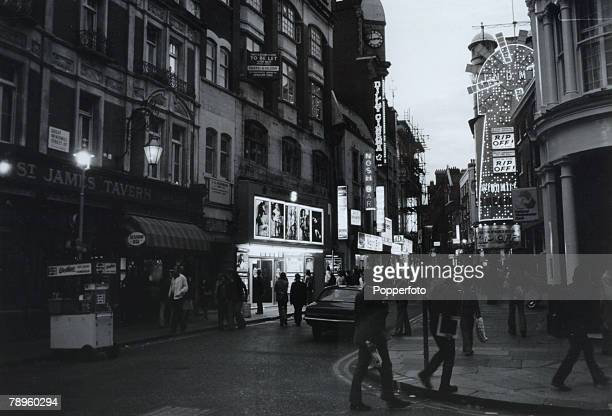 Travel Soho London England Circa 1970's Great Windmill Street with clubs pubs and strip joints