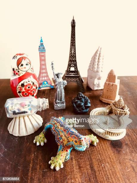 Travel souvenirs portrait light background