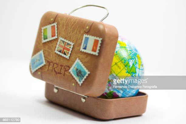Travel suitcase with a globe. Around the world