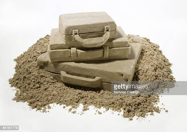 Travel suitcases made of sand