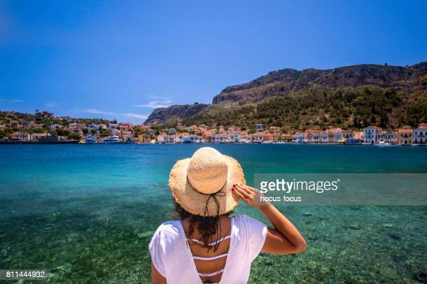 travel to greek island - mediterranean sea stock pictures, royalty-free photos & images