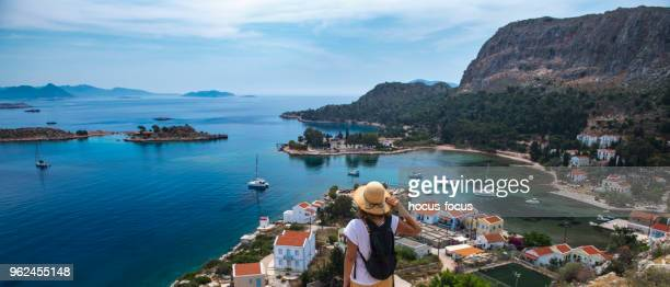 travel to greek island - dodecanese islands stock photos and pictures