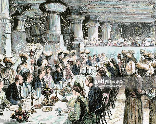 Travel to India of the Prince of Wales, Gala Dinner held in the Underground Temple of Elephanta on the occasion of the visit of the Prince, Recorded...