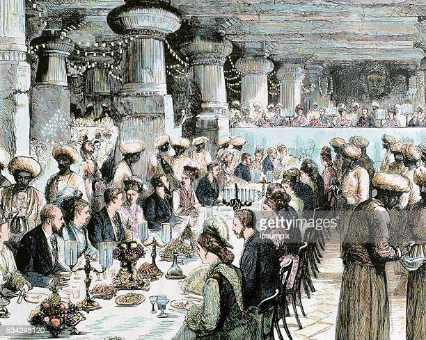 Travel to India of the Prince of Wales Gala Dinner held in the Underground Temple of Elephanta on the occasion of the visit of the Prince Recorded...