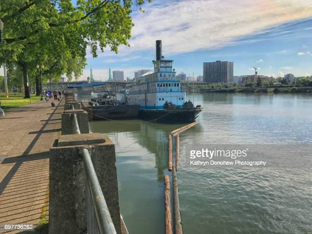 travel towns and cities-portland - willamette river stock photos and pictures