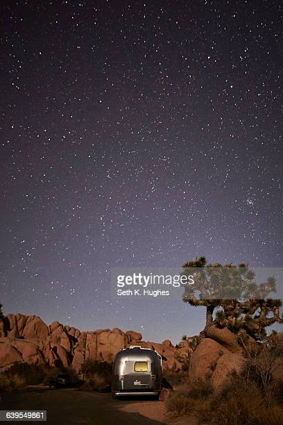 travel trailer at joshua tree national park, california - joshua tree stock photos and pictures