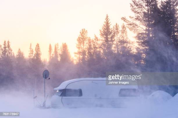 Travel trailer at winter