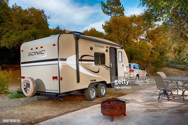 Travel trailer in campground