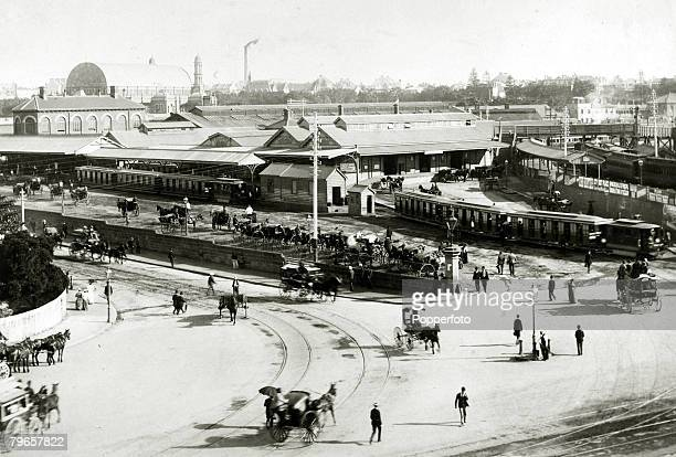 circa 1890 An early photograph of Redfern Railway Station in Sydney New South Wales