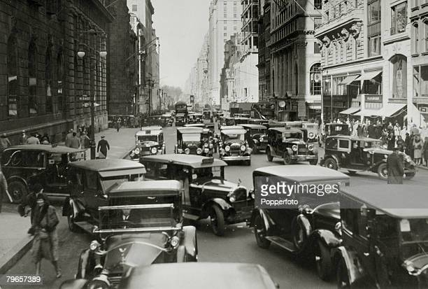 circa 1920's USA New York Traffic congestion on 5th Avenue looking south from 54th Street
