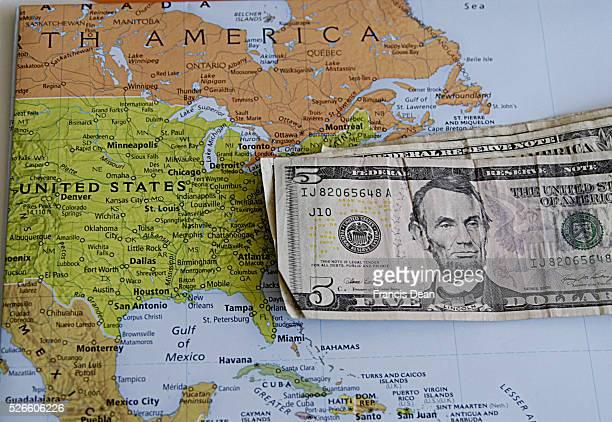 COPENHAGEN /DENMARK Travel united states map and usa dollars bils 03 May 2014