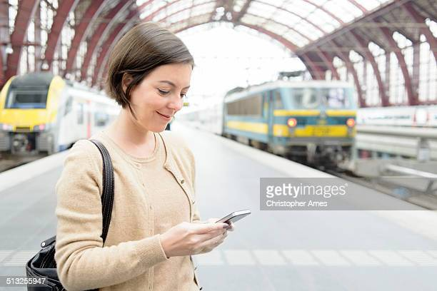 Travel - Using Smartphone at Railway Station