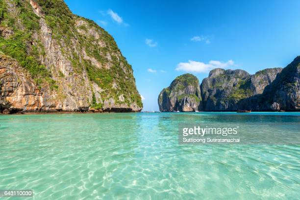Travel vacation background - Beautiful sea tropical island and sky - Phi-Phi island, Krabi Province, Thailand.