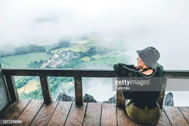 Travel Woman Look at View of Pha Ngern View Point VangVieng, Laos