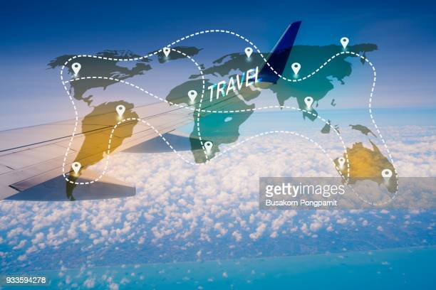 Travel World map with airplane background with technology icons concept design