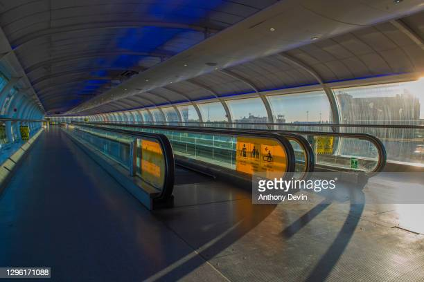 Travelator leads from Terminal One to the train station at Manchester Airport on June 01, 2020 in MANCHESTER.