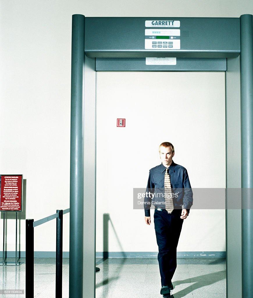 Traveler Approaching Metal Detector : Stock Photo