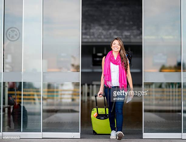 Traveler arriving at the airport