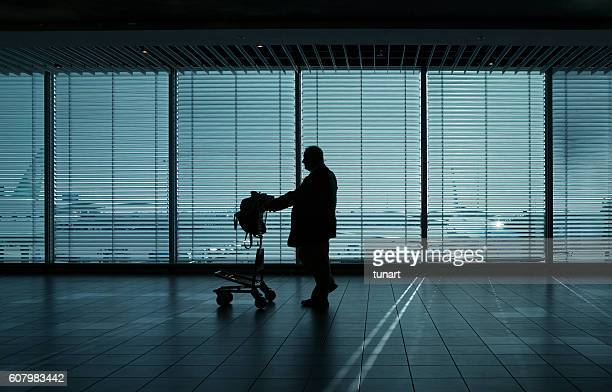 Traveler in Amsterdam Airport