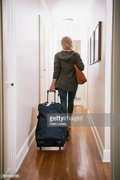 Traveler in hallway