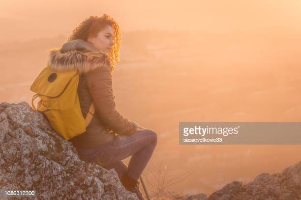 traveler looks at landscape - philosopher stock pictures, royalty-free photos & images