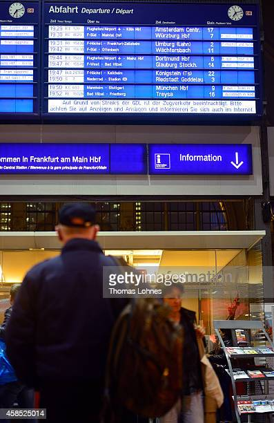 Traveler looks to the destination board with the cancelled trains at Hauptbahnhof main railway station during a four-day strike by the GDL train...