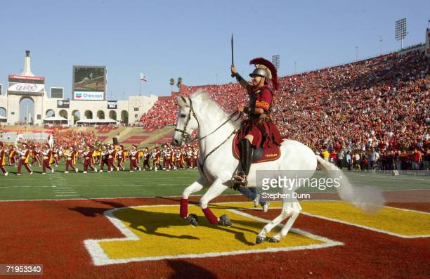 Traveler mascot of the USC Trojans runs on the field before the game against the Nebraska Cornhuskers on September 16 2006 at the Los Angeles...