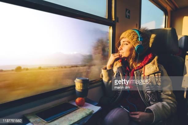 reiziger op reis met trein - trein stockfoto's en -beelden
