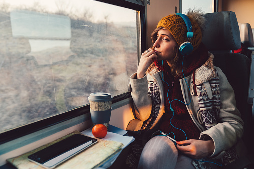 Traveler on a journey with train 922929534