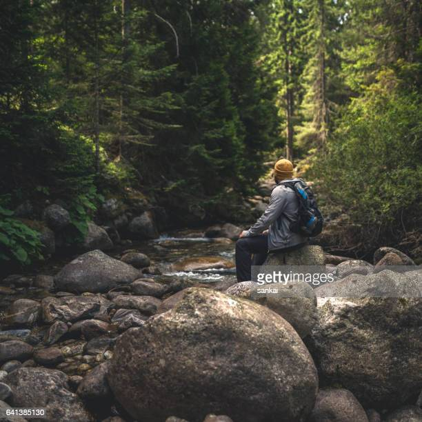 Voyageur se trouve sur des roches dans le flux dans les montagnes