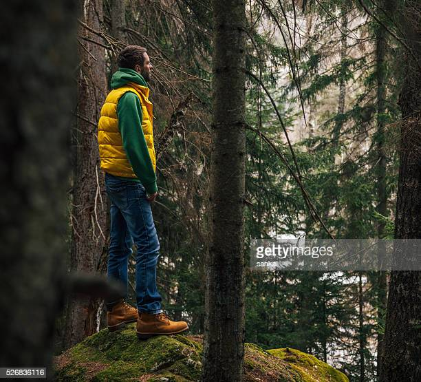 Traveler standing on a huge rock in the woods