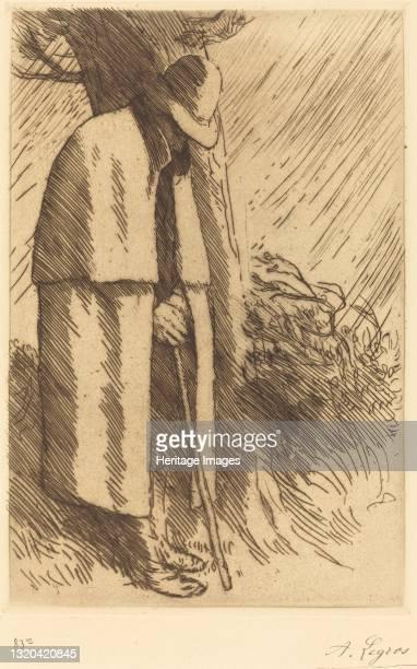 Traveler taking Shelter . Artist Alphonse Legros.