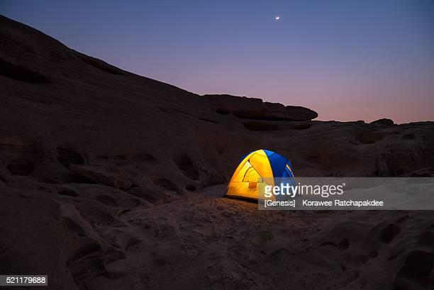Traveler tent in the sunset sky