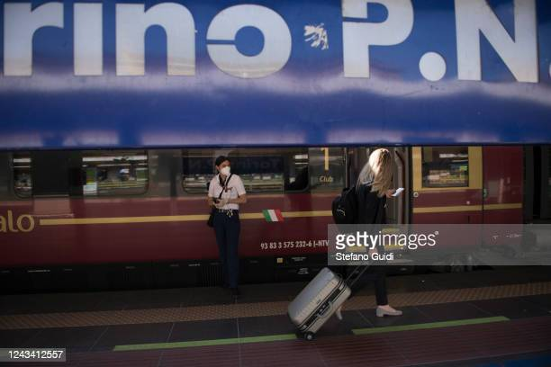 A traveler walks the platform with luggage at the Porta Nuova railway station on June 03 2020 in Turin Italy Today 3 June the Italian government has...