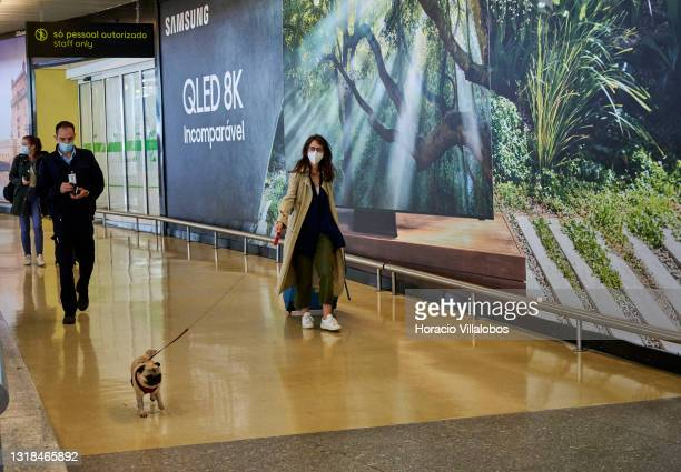 Traveler wears a mandatory protective mask while walking her dog on a leash as she leaves the passengers area after arrival in Terminal 1 of the...