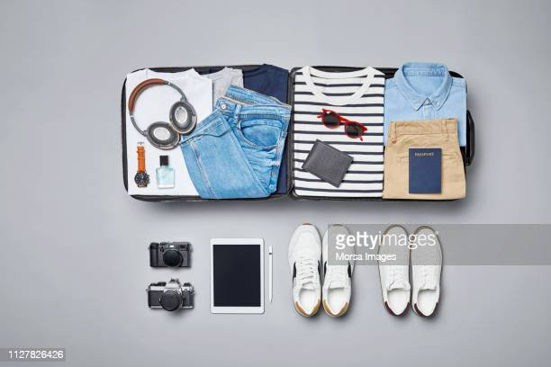 traveler's accessories and clothes - knolling concept stock pictures, royalty-free photos & images