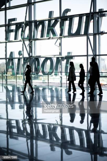 Travelers at Frankfurt Airport