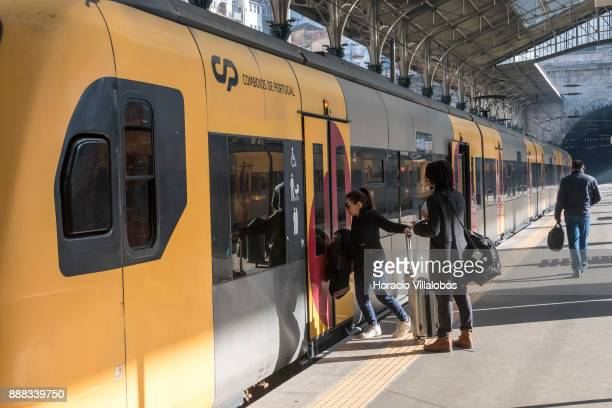 Travelers board a local train at Sao Bento train station during the visit to the premises by participants of Gastronomic FAM Tour on December 01 2017...