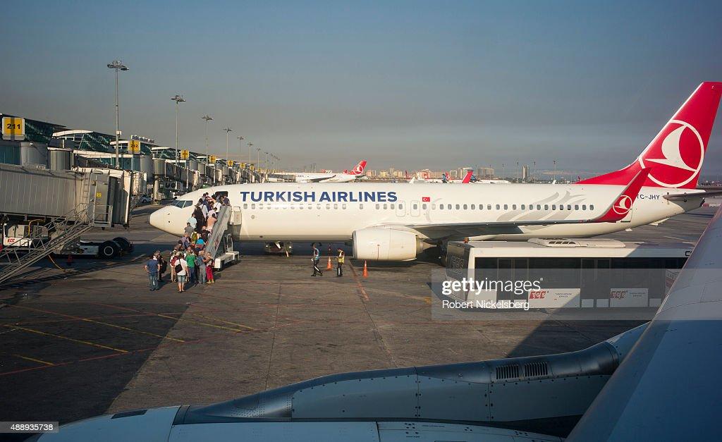 Turkish Airways Flight At The Airport In Istanbul, Turkey : News Photo