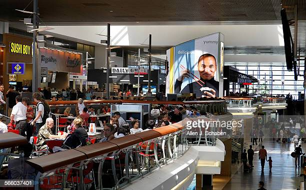 Travelers dine in the recently rebuilt restaurants and foodcourt at the Tom Bradley International Terminal at LAX Airport Officials are aiming at...
