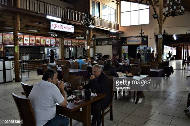 Travelers have their breakfast at a roadside restaurant in Bolu Turkey on October 20 2018 Bolu is located along a travel route between Turkey's two...