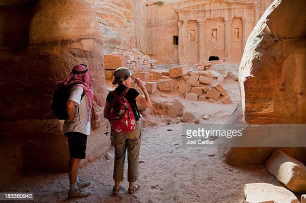 Travelers in the Middle East in Petra, Jordan