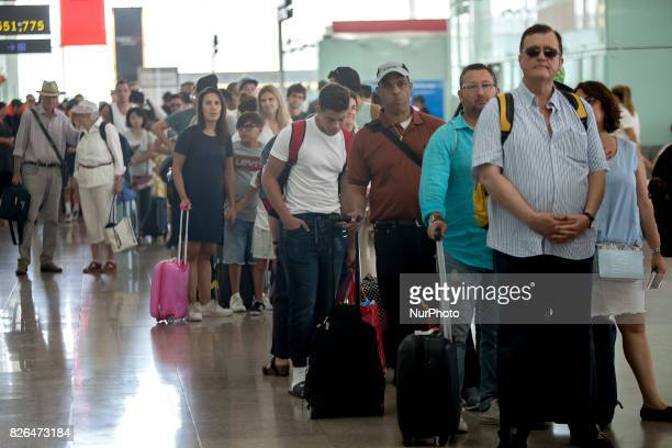 Travelers make more than 1 hour of delay during the EULEN workers strike in the Barcelona's airport in El Prat de Llobregat on 2017 august 4