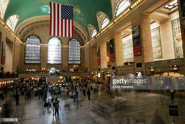 Travelers move across Grand Central Terminal at the beginning of the Memorial Day weekend May 25, 2007 in New York City. The Memorial Day weekend...