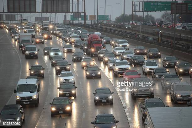 Travelers sit in a massive traffic jam as people hit the road for the holiday weekend on November 23 2016 in Chicago Illinois The American Automobile...