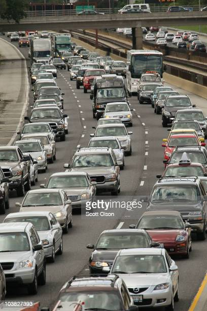 Travelers sit in traffic on Interstate 90 as they hit the road for the start of the Labor Day weekend September 3 2010 in Chicago Illinois AAA auto...